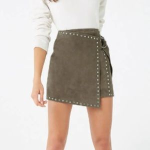 Suede Studded Trim Mini Skirt